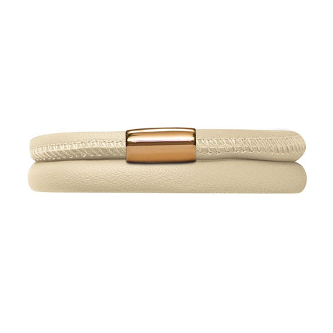 Endless Jewellery Bracelet Leather Double Nude Beige Gold Plated 40cm