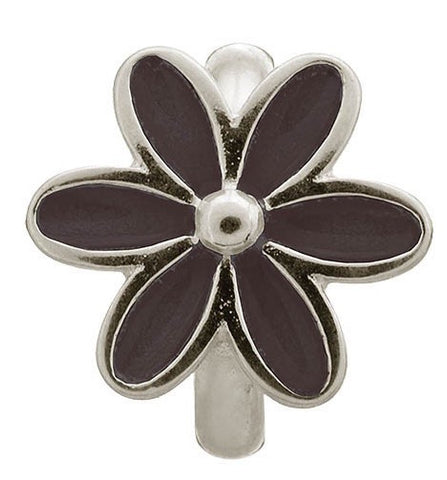 Endless Jewellery Charm Enamel Flower Black Silver