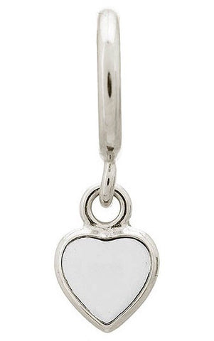 Endless Jewellery Charm Enamel Heart Drop White Silver