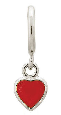 Endless Jewellery Charm Enamel Heart Drop Red Silver