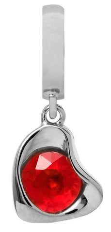 Endless Jewellery Charm Heart Drop Garnet Silver