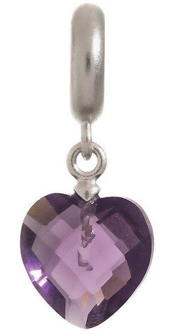 Endless Jewellery Charm Heart Cut Drop Amethyst Silver