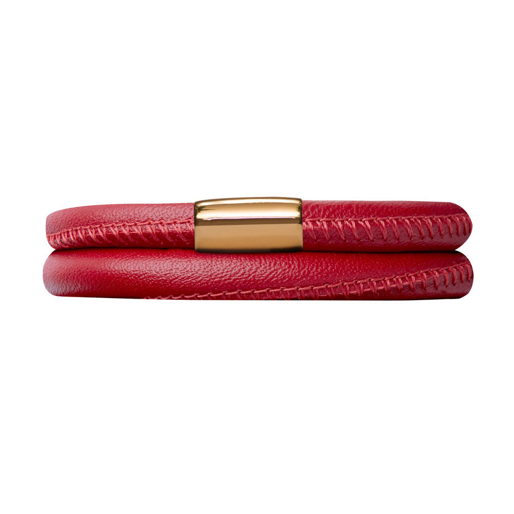 Endless Jewellery Bracelet Leather Double Red 42cm