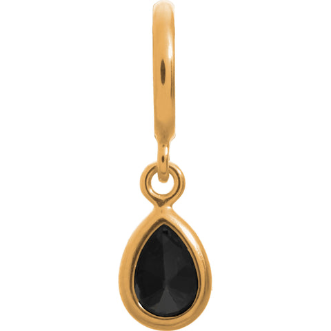 Endless Jewellery Charms Black Drop Yellow Gold
