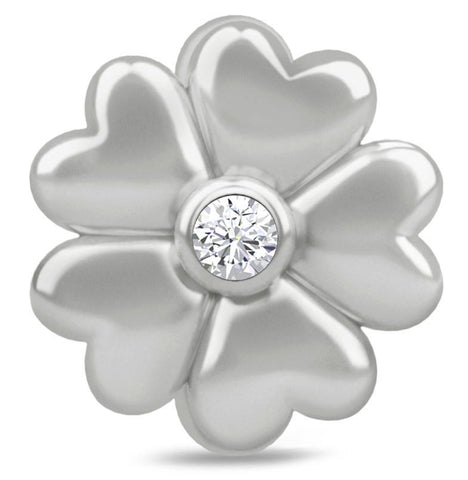 Endless Jewellery Charm White Heart Flower Silver