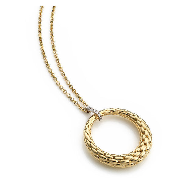 Fope Lovely Daisy 18ct Yellow Gold 0.04ct Diamond Open Circle Necklace