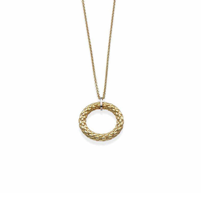 Fope Necklace Lovely Daisy 18ct Yellow And White Gold