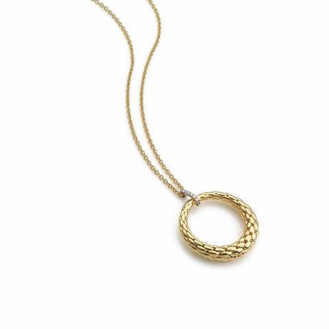 Fope Necklace Lovely Daisy Diamond 18ct Yellow Gold