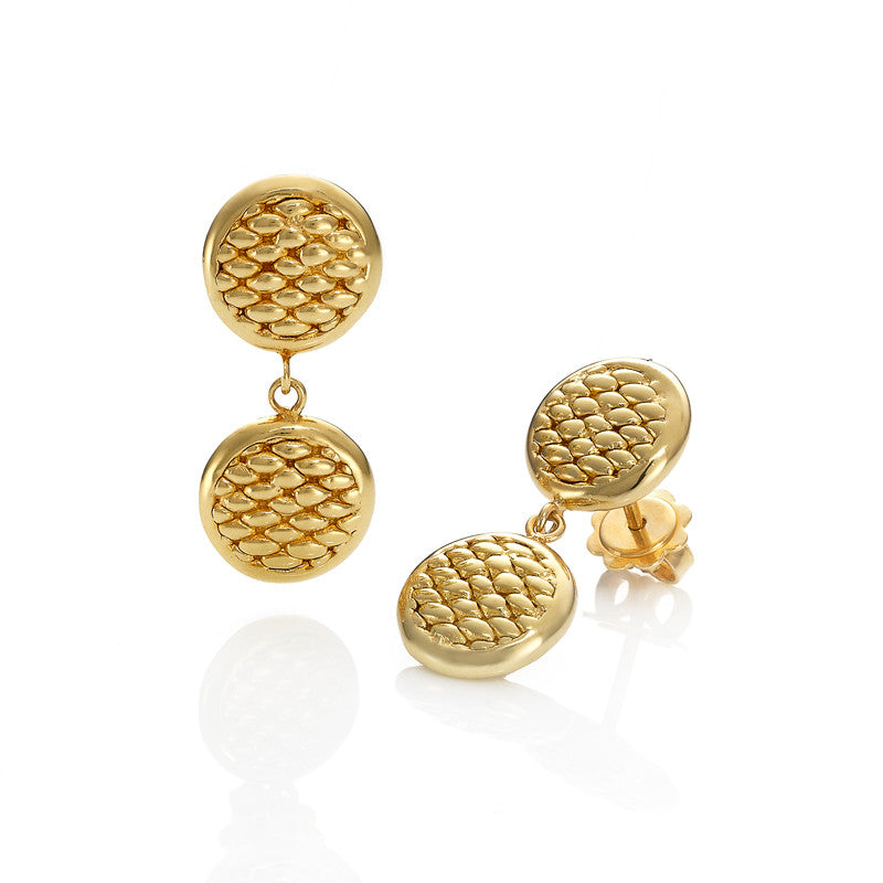 Fope Earrings Drop Lovely Daisy 18ct Yellow Gold