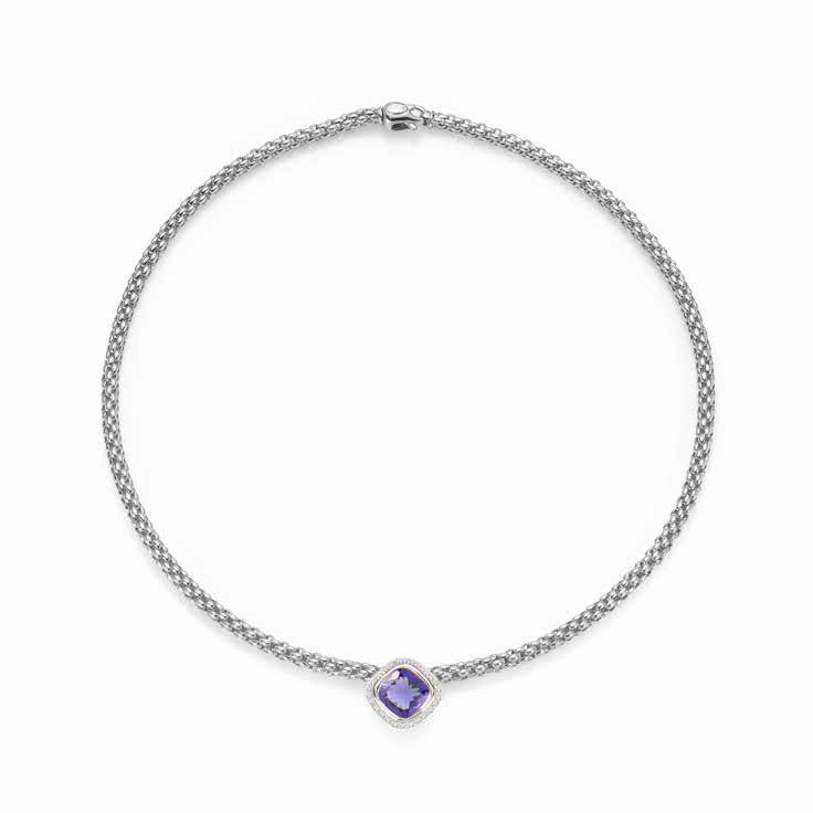 Fope FLEX'IT SOLO Necklace Iolite Diamond 18ct White Gold
