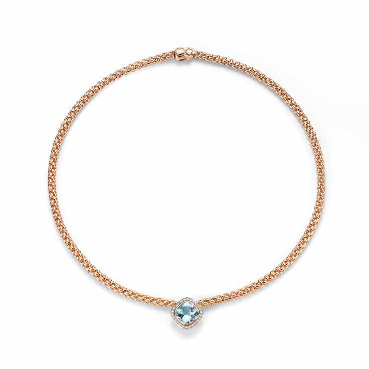 Fope FLEX'IT Solo Necklace Aquamarine Diamond 18ct Rose Gold