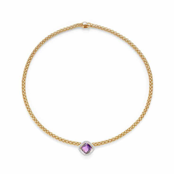 Fope FLEX'IT SOLO Necklace Amethyst Diamond 18ct Yellow Gold