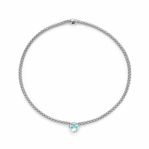 Fope FLEX'IT SOLO Necklace Aquamarine 18ct White Gold