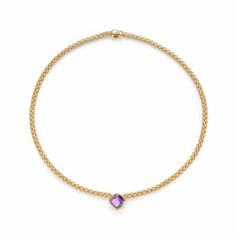 Fope FLEX'IT SOLO Necklace Amethyst 18ct Yellow Gold