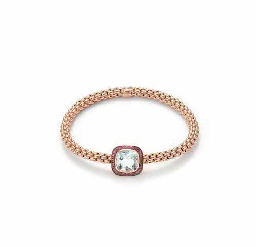 Fope FLEX'IT SOLO Bracelet Aquamarine 18ct Rose Gold Medium