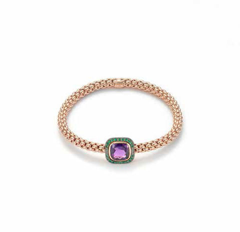 Fope FLEX'IT SOLO Bracelet Amethyst 18ct Rose Gold Medium