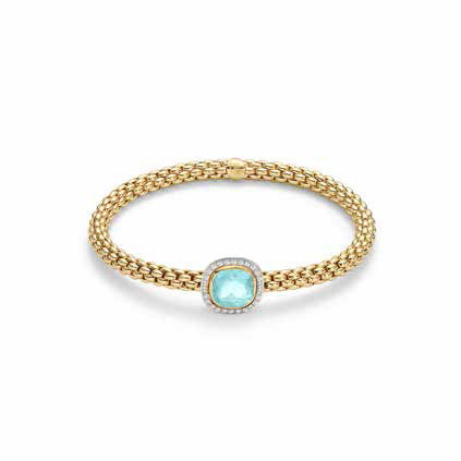 Fope FLEX'IT SOLO Bracelet Aquamarine Diamond 18ct Yellow Gold