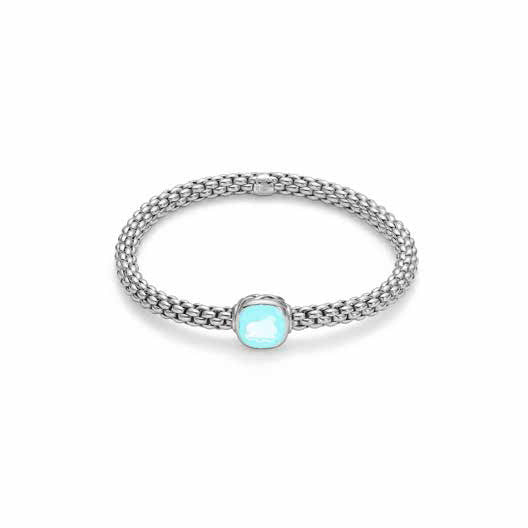 Fope FLEX'IT SOLO Bracelet Aquamarine 18ct White Gold Medium