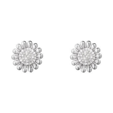 Georg Jensen Sunflower Sterling Silver 0.14ct Diamond Earrings