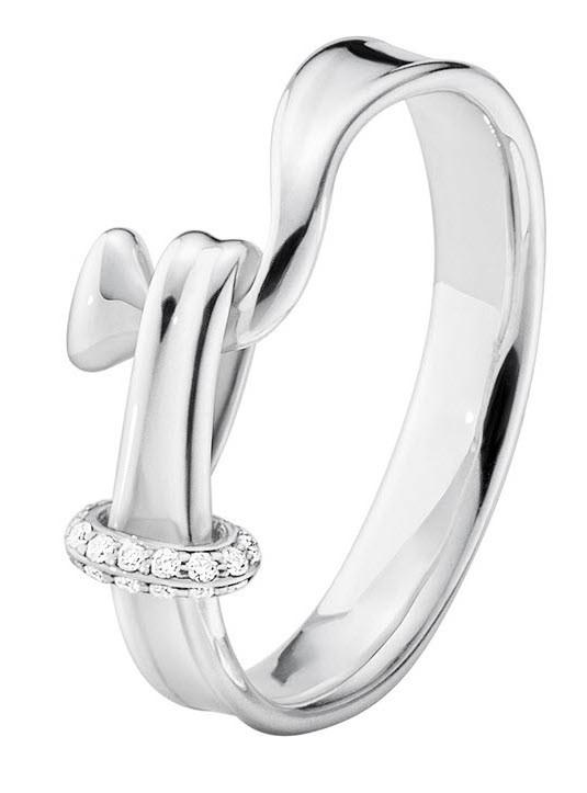Georg Jensen Sterling Silver and Diamond Torun Ring