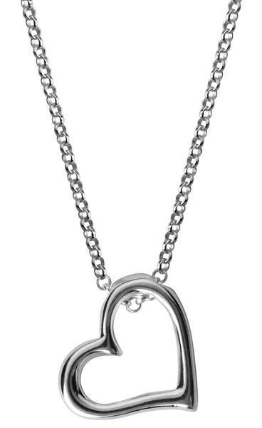 CW Sellors Necklace Open Heart Silver