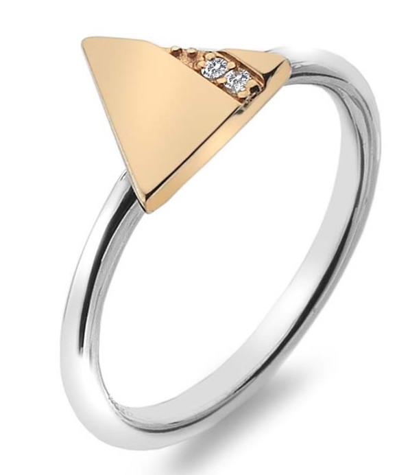 Hot Diamonds Ring Silhouette Triangle Rose Gold