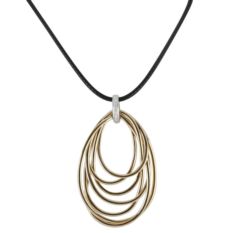 Al Coro Necklace Black leather And 18ct White Gold Clasp