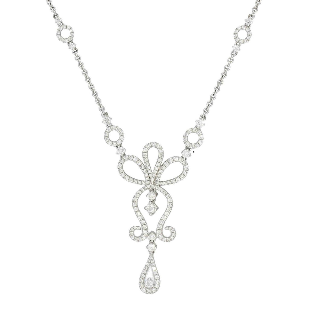 Diamond Necklace Fancy Ornate Design 18ct White Gold