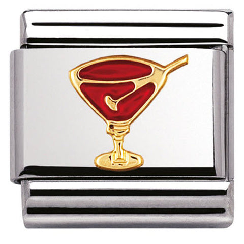 Nomination Charm Composable Classic Fun Red Cocktail Glass Steel
