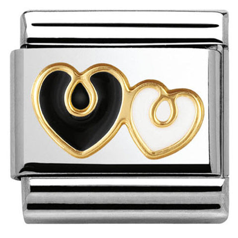 Nomination Charm Composable Classic Elegance Double Heart Black and White Steel