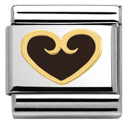 Nomination Charm Composable Classic Elegance Heart with Decoration Black Steel