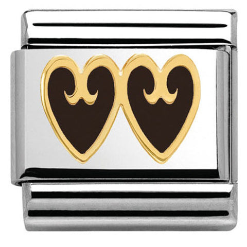 Nomination Charm Composable Classic Elegance Double Heart with Decoration Black Steel
