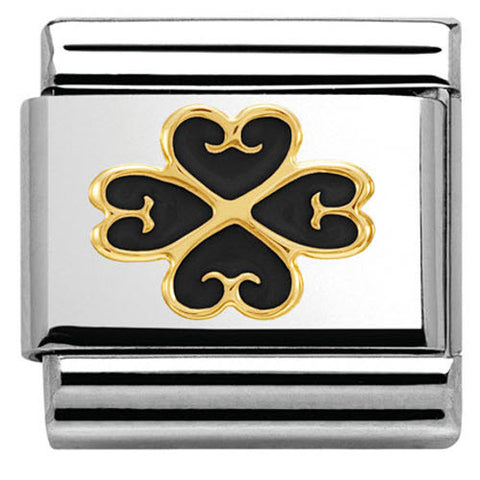 Nomination Charm Composable Classic Elegance Four-leaf Clover with Heart Black Steel