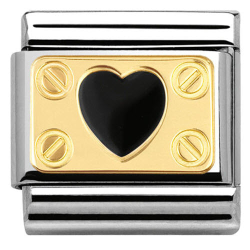 Nomination Charm Composable Classic Elegance Engraved Plate with Heart and Screws Black Steel