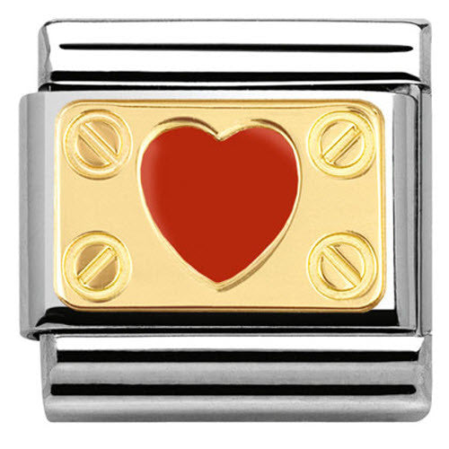 Nomination Charm Composable Classic Elegance Engraved Red Heart with Screws Steel