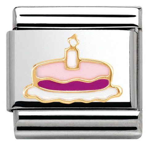 Nomination Charm Composable Madame & Monsieur Link Cake with Candle Steel