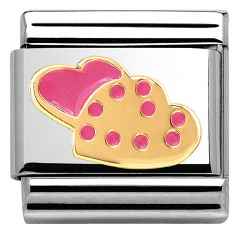 Nomination Charm Composable Madame & Monsieur Link Cookies in Heart Steel