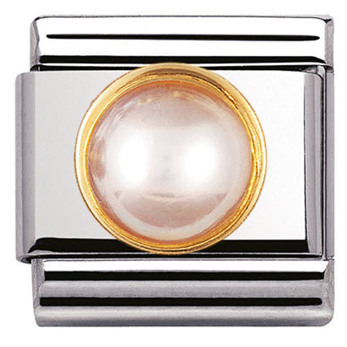 Nomination Charm Composable Classic Round Stones Pink Pearl Steel