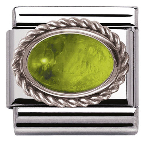 Nomination Charm Composable Classic Oval Semi Precious Stones Peridot Steel