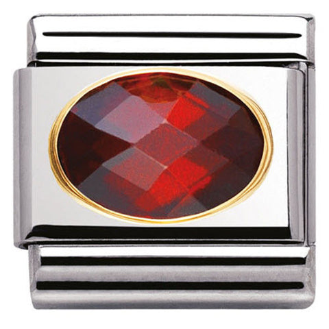Nomination Charm Composable Classic Faceted Cubic Zirconia Red Steel
