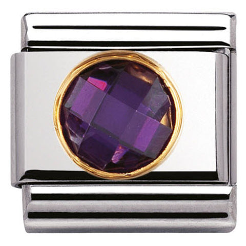 Nomination Charm Composable Classic Links Purple Round Cubic Zirconia Steel