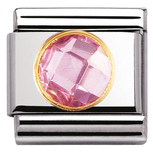 Nomination Charm Composable Classic Links Pink Round Cubic Zirconia Steel