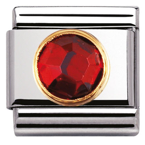 Nomination Charm Composable Classic Links Red Round Cubic Zirconia Steel