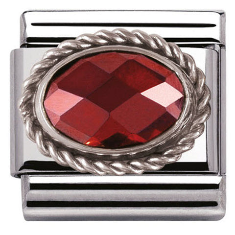 Nomination Charm Composable Classic Faceted Red Cubic Zirconia Steel