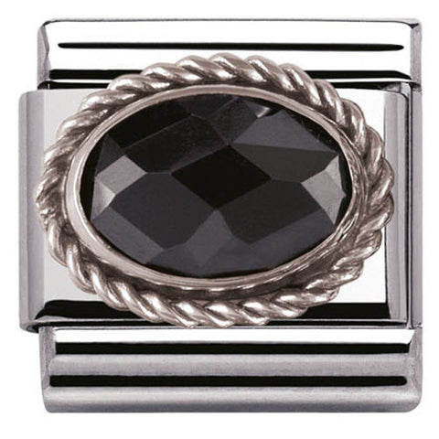 Nomination Charm Composable Classic Faceted Black Cubic Zirconia Steel