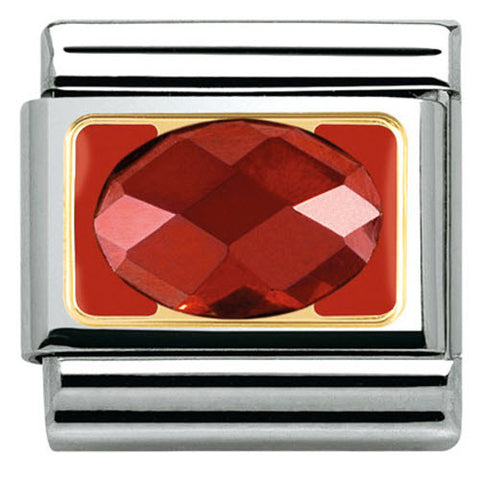 Nomination Charm Composable Classic Elegance Faceted Red Cubic Zirconia Steel