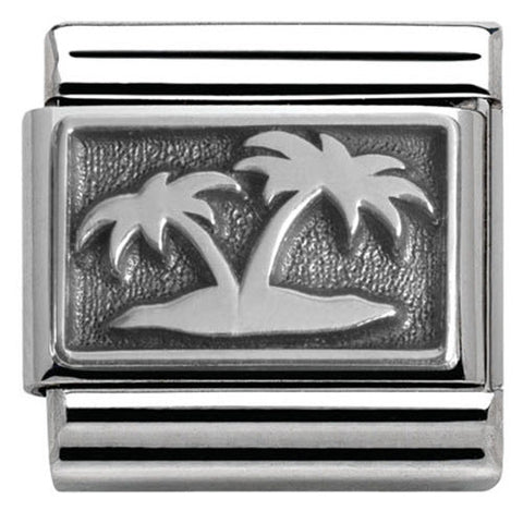 Nomination Charm Composable Classic Plates Oxidized Island with Palm Trees Steel