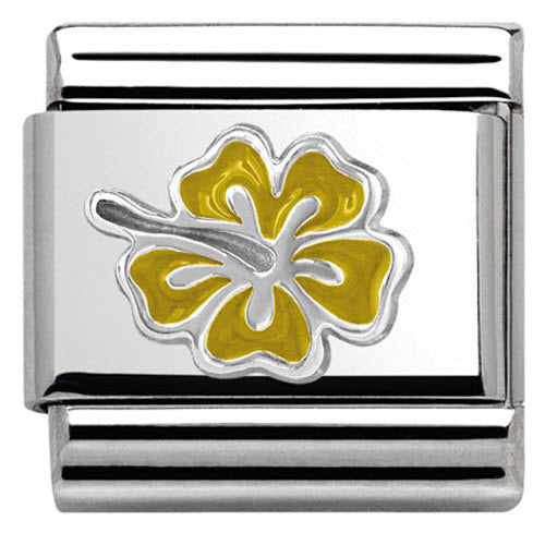 Nomination Charm Composable Classic Symbols Yellow Hibiscus Steel