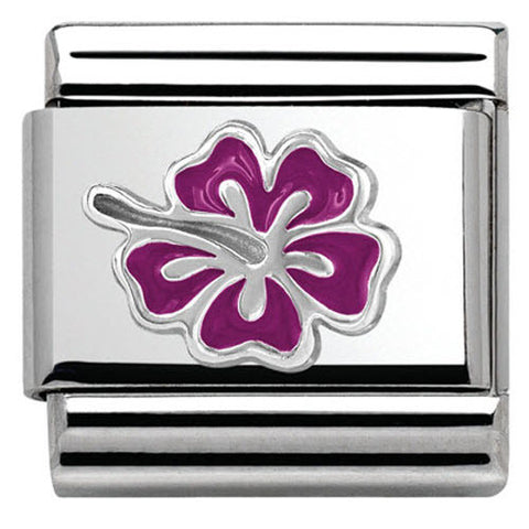 Nomination Charm Composable Classic Symbols Hibiscus Fuchsia Steel