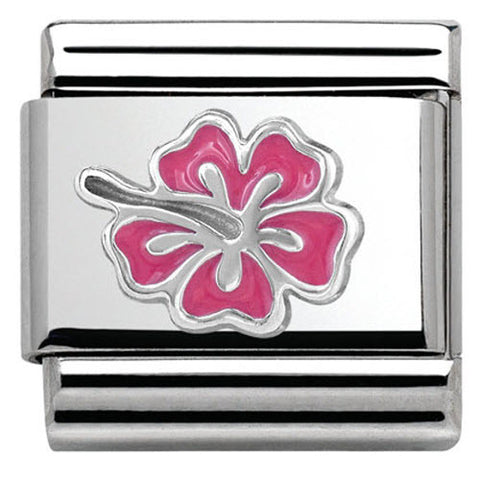 Nomination Charm Composable Classic Symbols Hibiscus Pink Steel